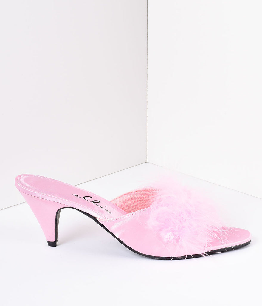 Pink Satin & Maribou Feather Phoebe Slip-On Heels