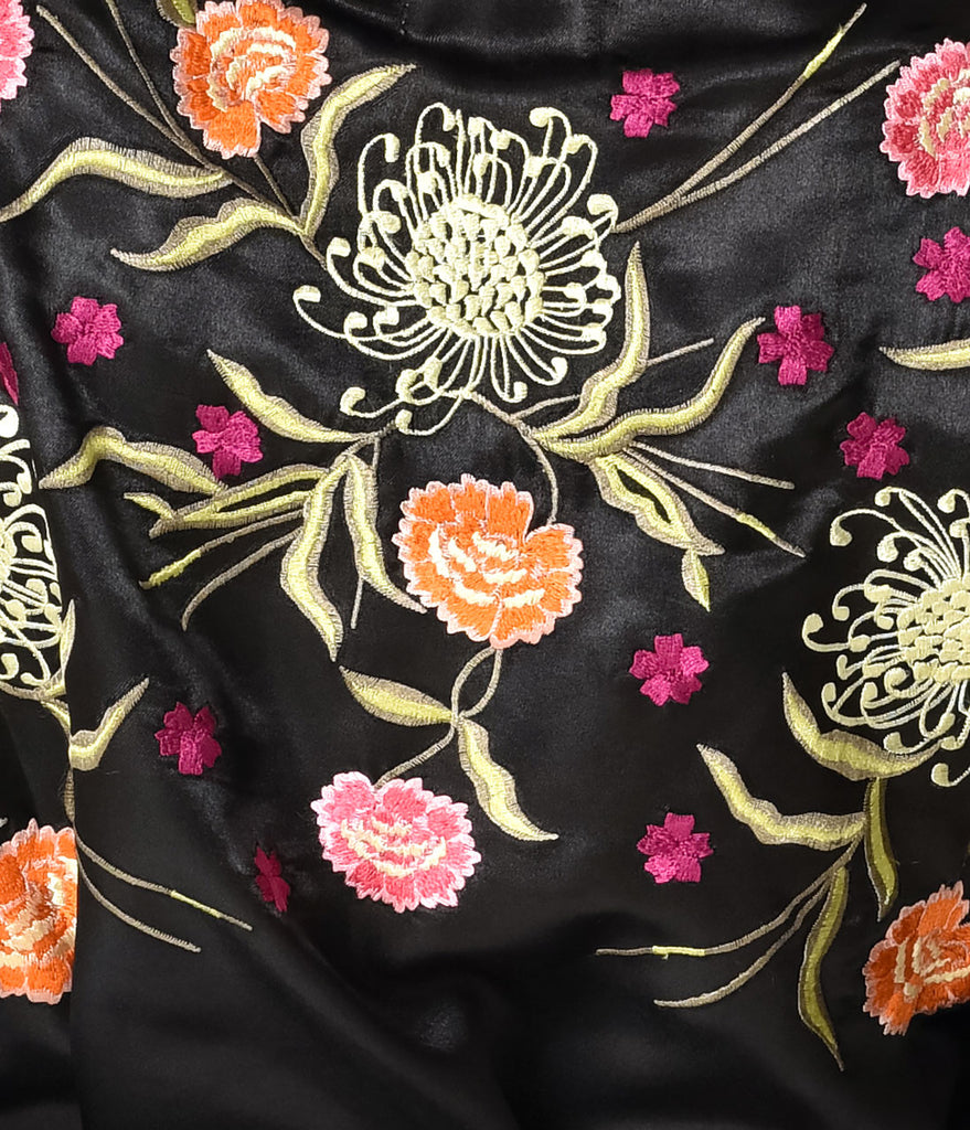 Playful Promises Vintage Style Black Embroidered Jasmin Kimono