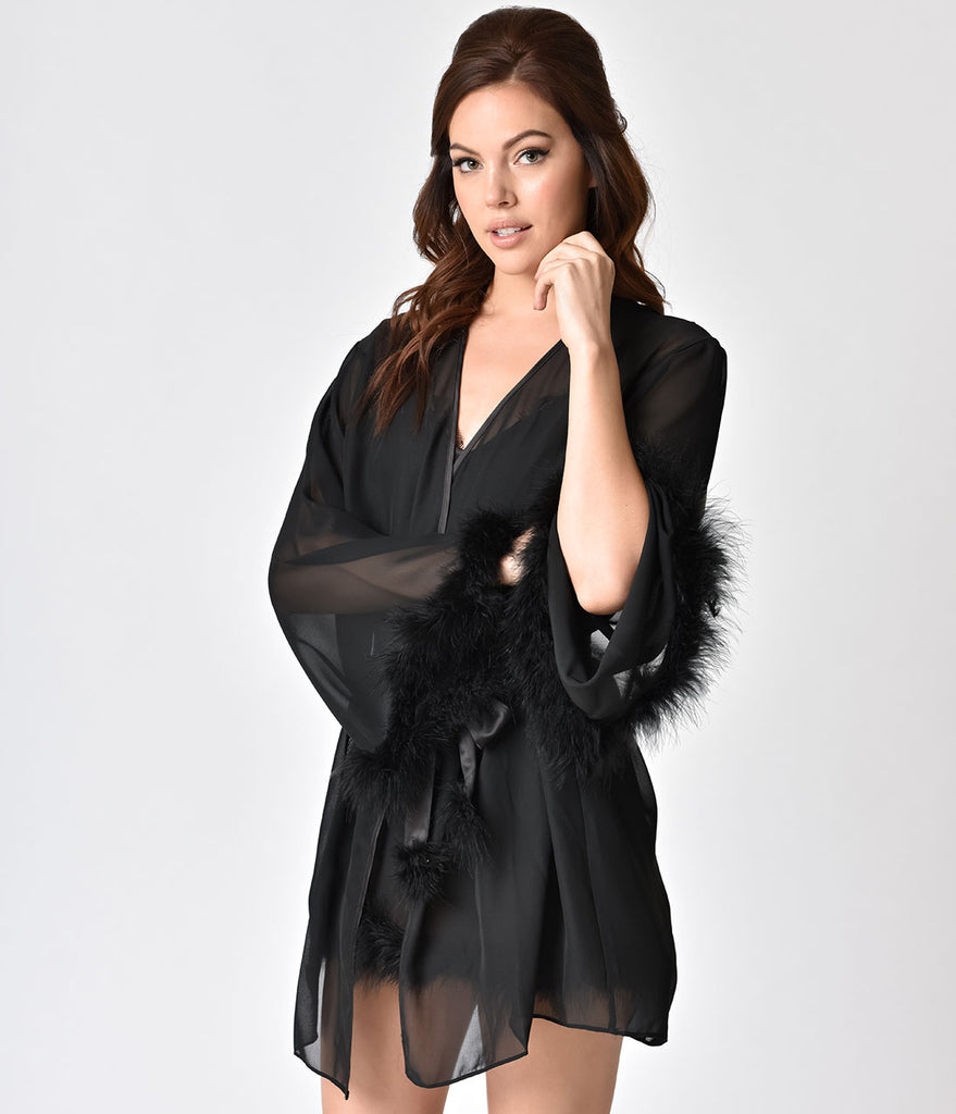 Playful Promises Vintage Style Black Faux Feather Chiffon Robe