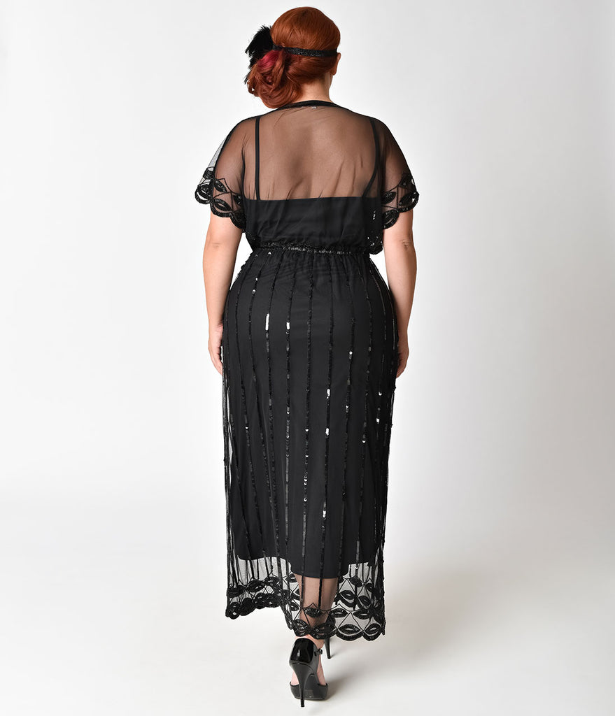 Plus Size 1920s Black Beaded Deco Angelina Maxi Flapper Dress