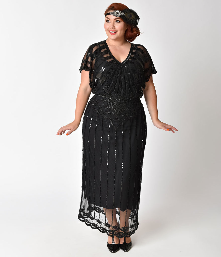 64d4894170d Plus Size 1920s Black Beaded Deco Angelina Maxi Flapper Dress – Unique  Vintage