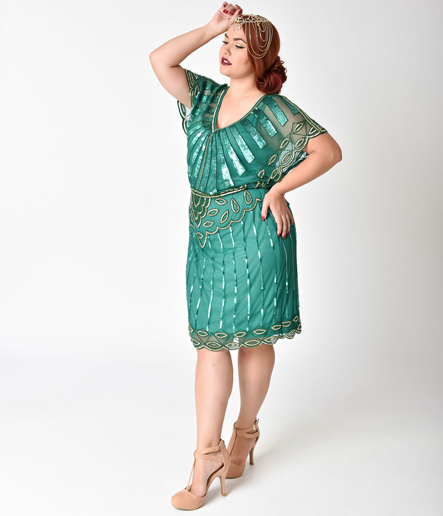 Plus Size 1920s Emerald & Gold Beaded Deco Angel Sleeve Flapper Dress
