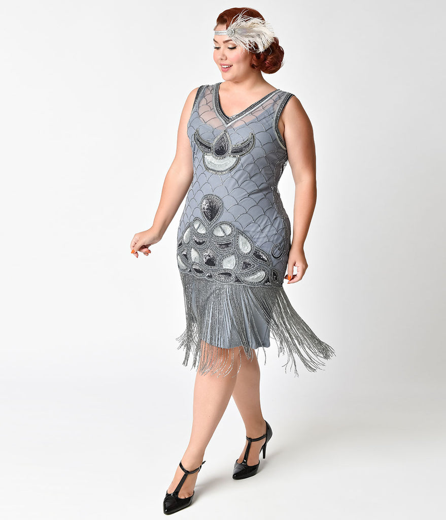 Plus Size 1920s Smoky Lilac Beaded Deco Fringe Victoria Flapper Dress