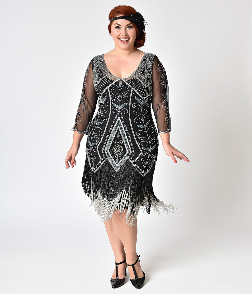 Plus Size 1920s Style Black & Silver Beaded Sleeved Scarlet Fringe Flapper Dress