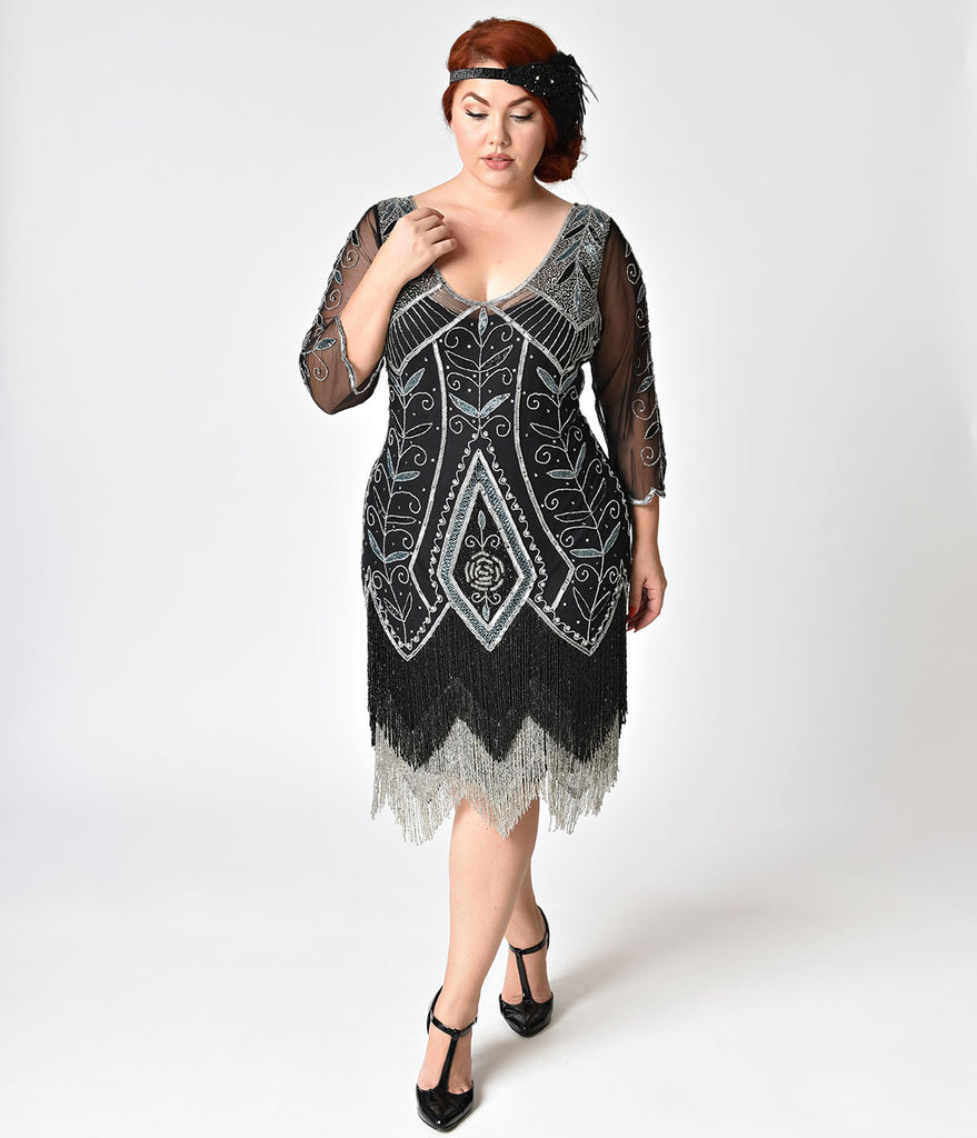 Plus Size 1920s Style Black Silver Beaded Sleeved Scarlet Fringe