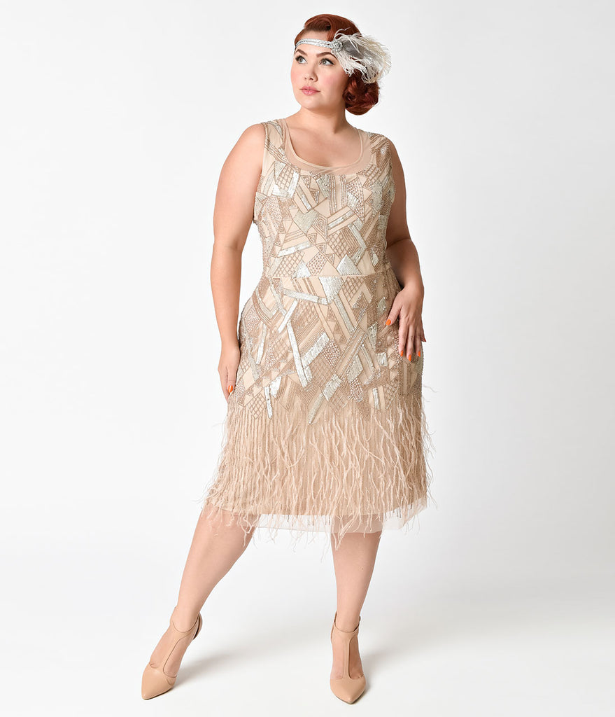 Plus Size 1920s Style Champagne Beaded Deco Feather Fringe Marilyn Flapper Dress