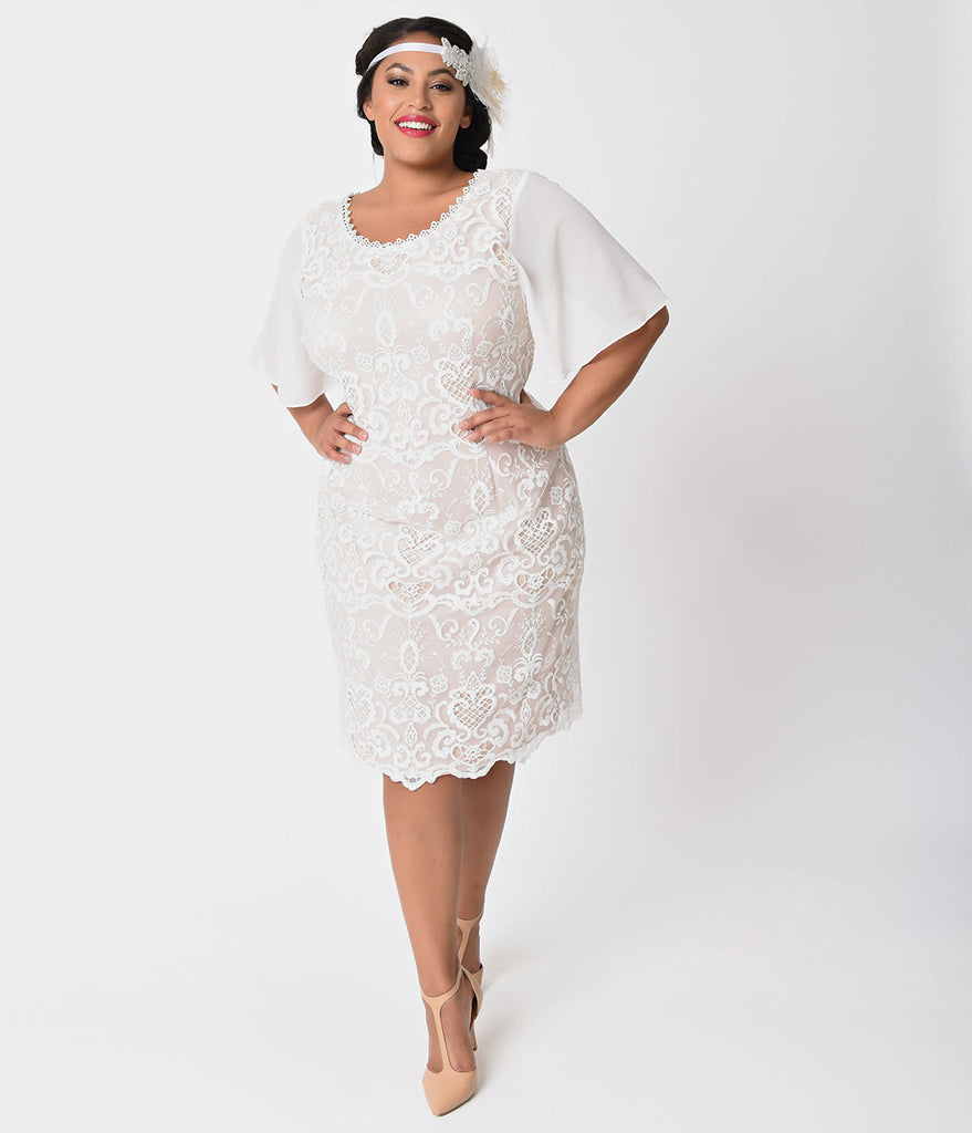 Plus Size 1920s Style Ivory & Light Beige Lace Short Sleeve Flapper Dress