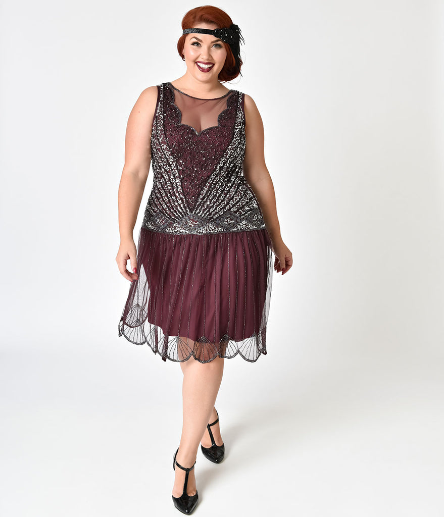 Plus Size 1920s Style Plum & Silver Beaded Deco Elaina Flapper Dress