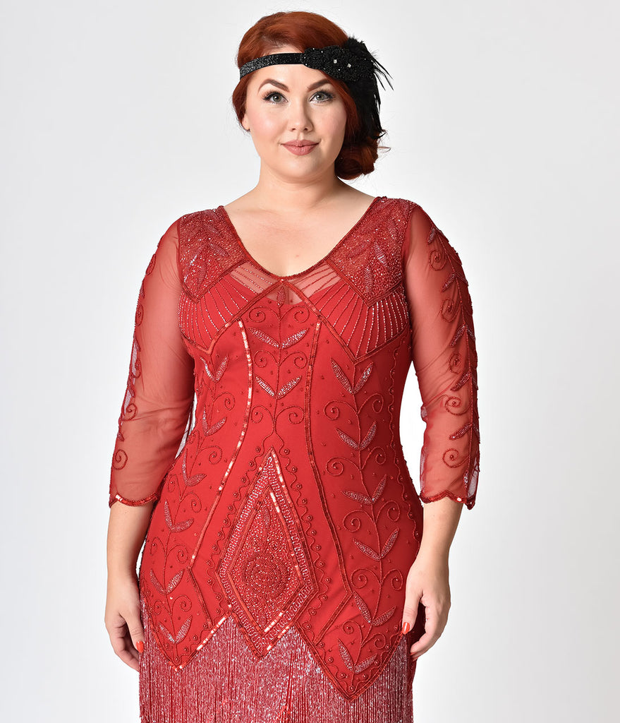 Plus Size 1920s Style Red Sleeved Beaded Scarlet Fringe Flapper Dress