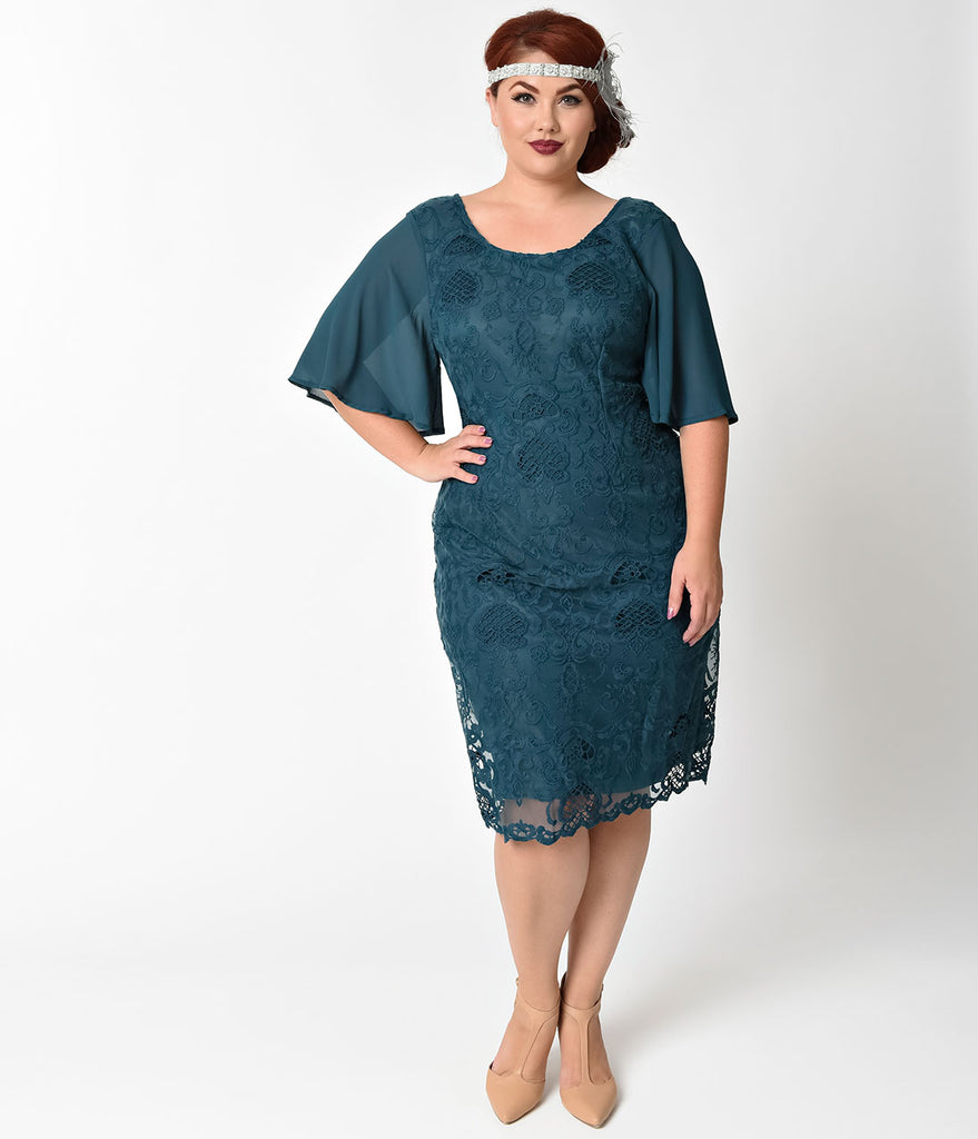 Plus Size 1930s Style Dark Teal Angel Sleeve Lace Flapper Dress