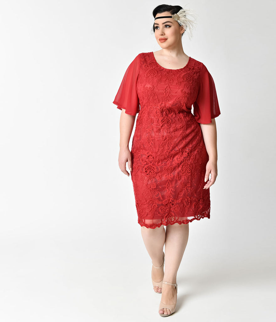 Plus Size 1930s Style Wine Red Angel Sleeve Lace Flapper Dress ...