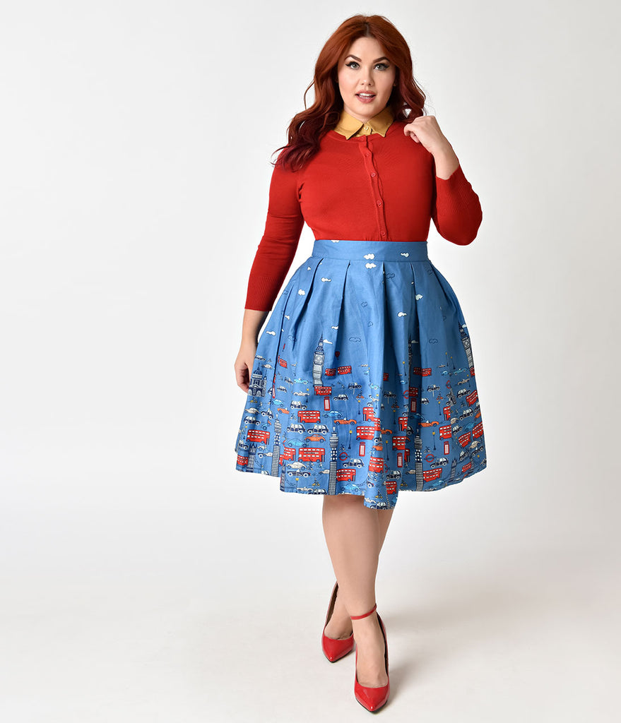 Plus Size 1950s Style Blue London Street High Waist Pleated Swing Skirt