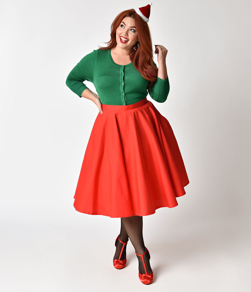Plus Size 1950s Style Cherry Red Cotton Circle Skirt