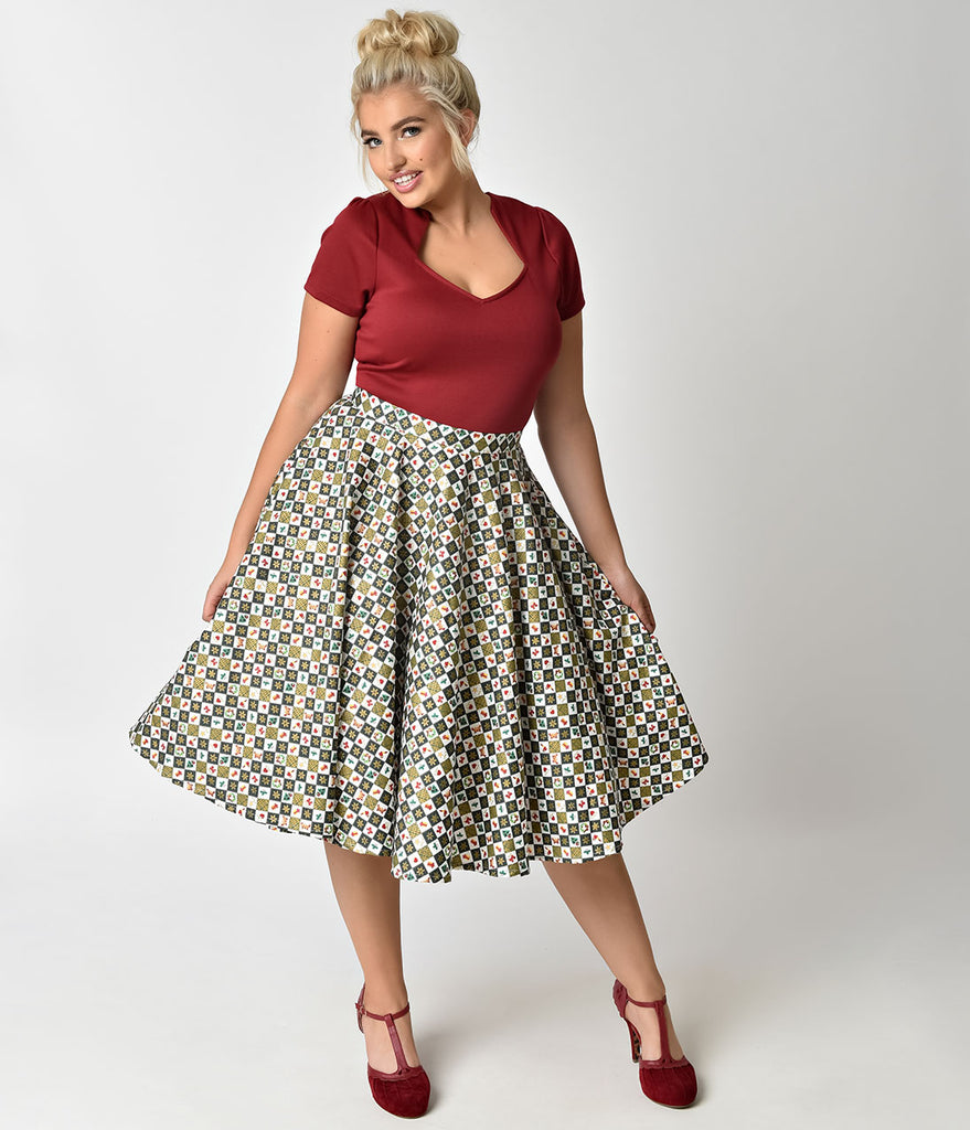 Plus Size 1950s Style Green & White Christmas Print Circle Skirt