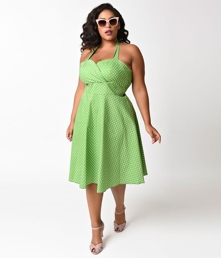 Plus Size 1950s Style Green & White Polka Dot Halter Swing Dress
