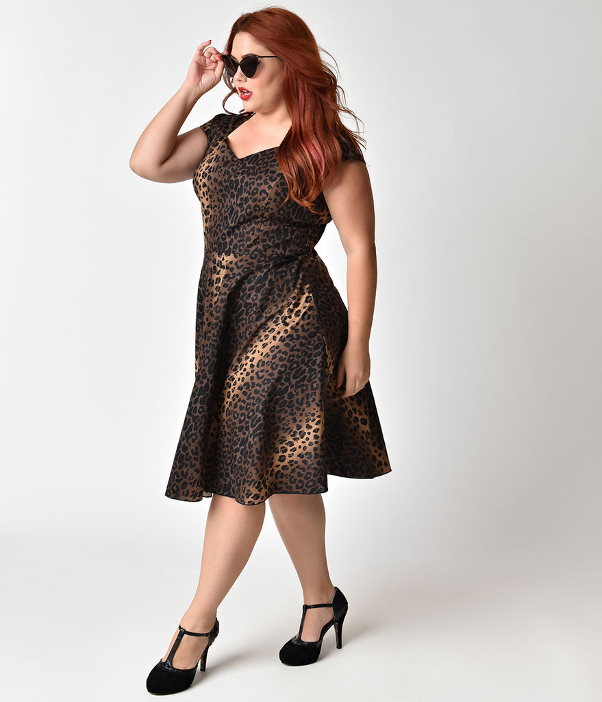 Plus Size 1950s Style Leopard Print Cotton Swing Dress