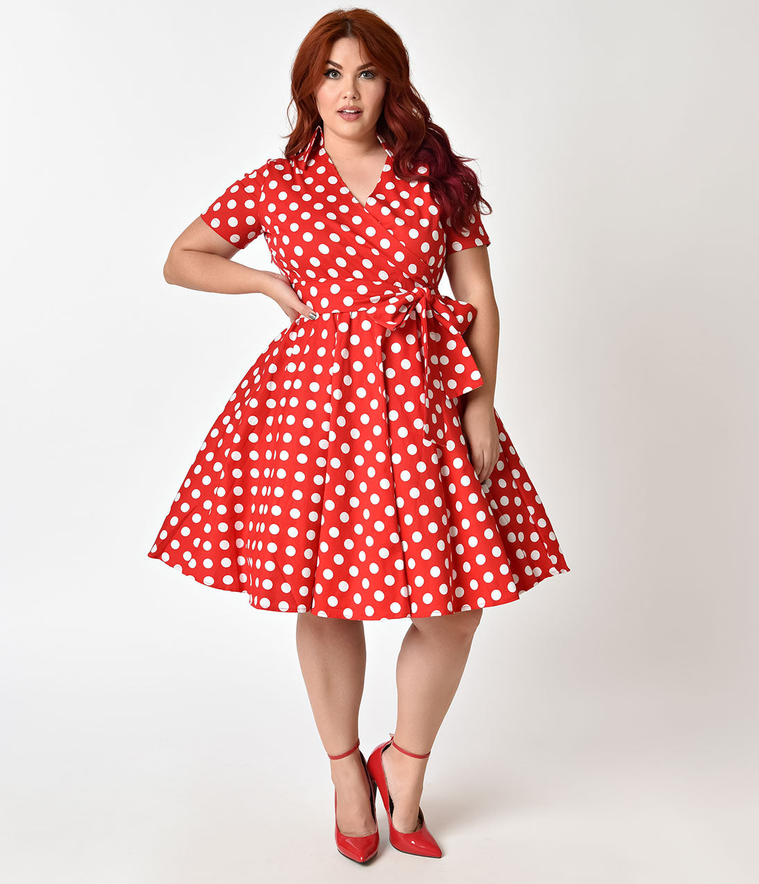 Plus Size Polka Dot Dresses – Vintage 40s, 50s, 60s Dresses Plus Size 1950s Style Red  Ivory Polka Dot Short Sleeve Flare Dress $68.00 AT vintagedancer.com