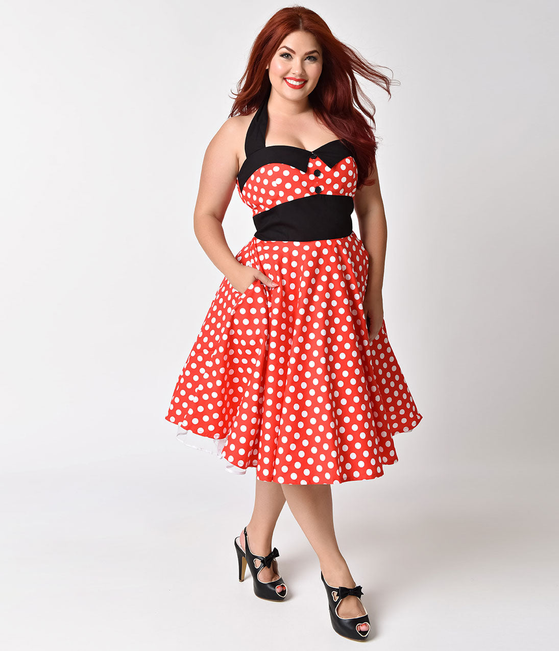 Plus Size Polka Dot Dresses – Vintage 40s, 50s, 60s Dresses Plus Size 1950s Style Red  White Polka Dot Ashley Halter Swing Dress $54.00 AT vintagedancer.com