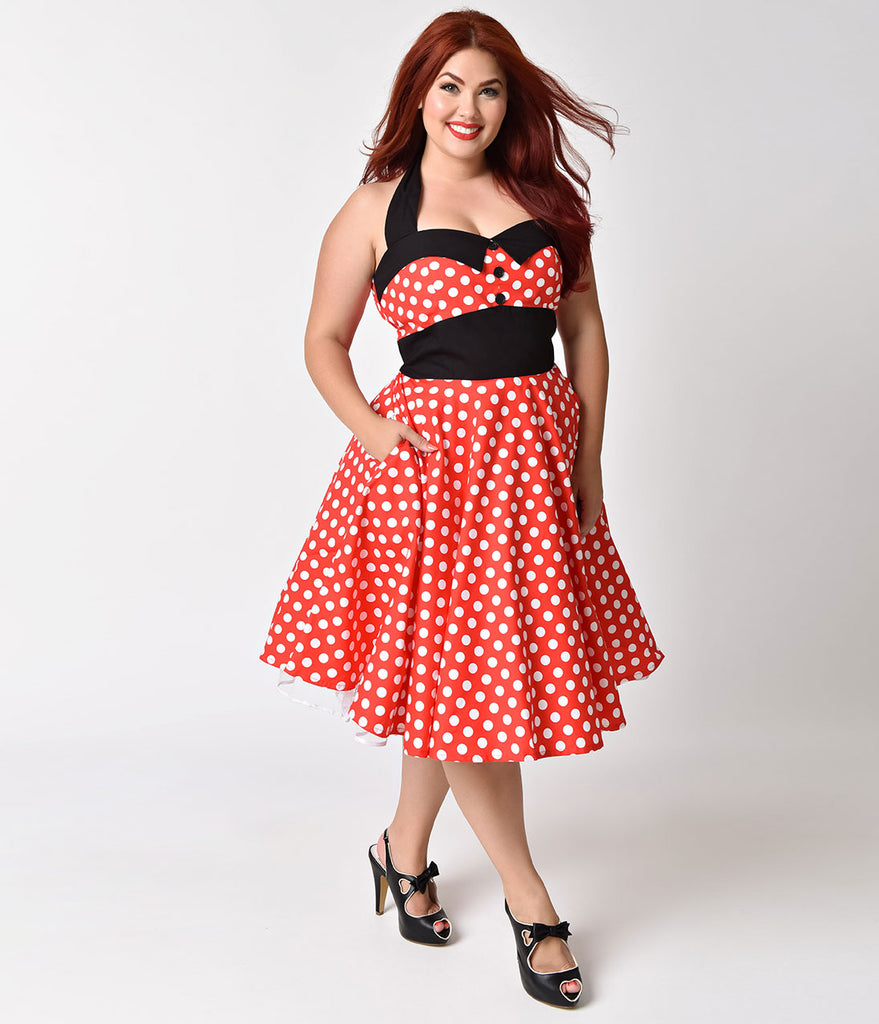 Plus Size 1950s Style Red & White Polka Dot Ashley Halter Swing Dress