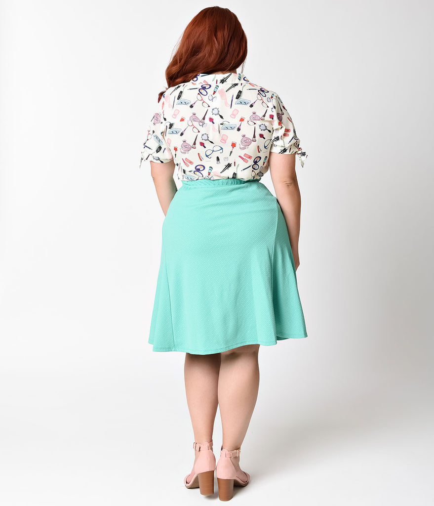 Plus Size 1950s Style Retro Mint Flare Skirt