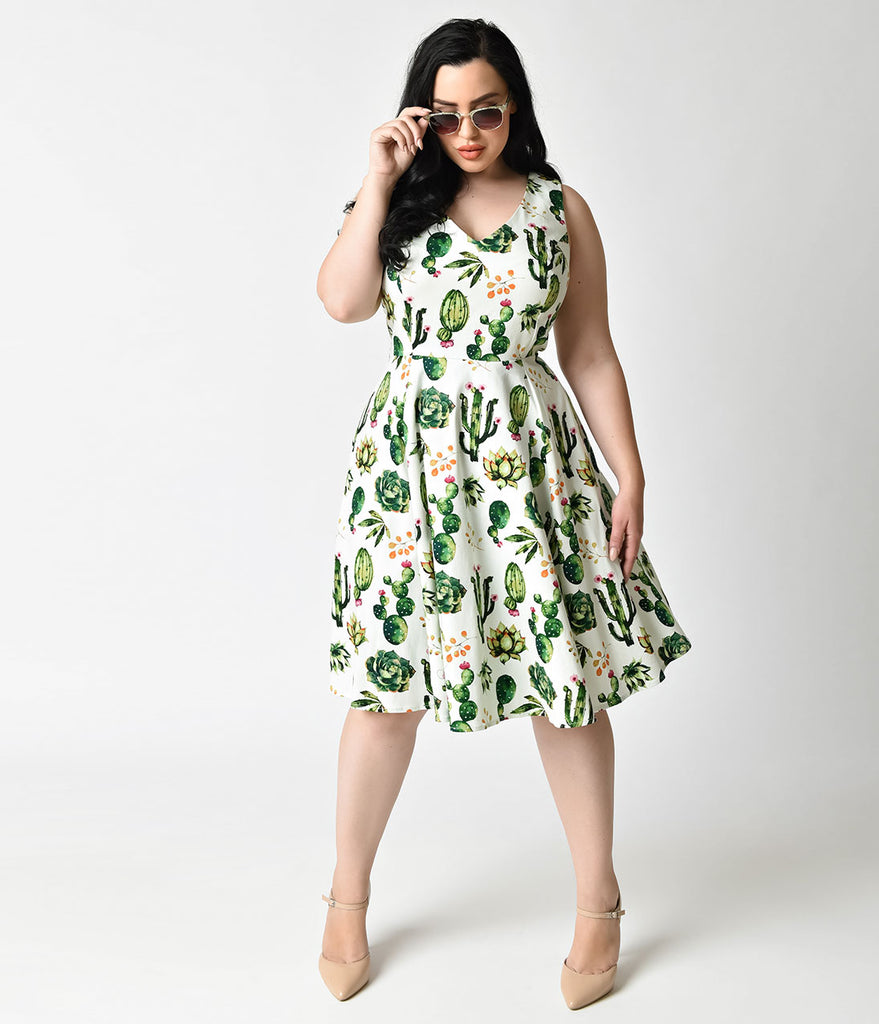 32036fbe9c80 Plus Size 1950s Style White   Green Cactus Print Sleeveless Swing Dres –  Unique Vintage