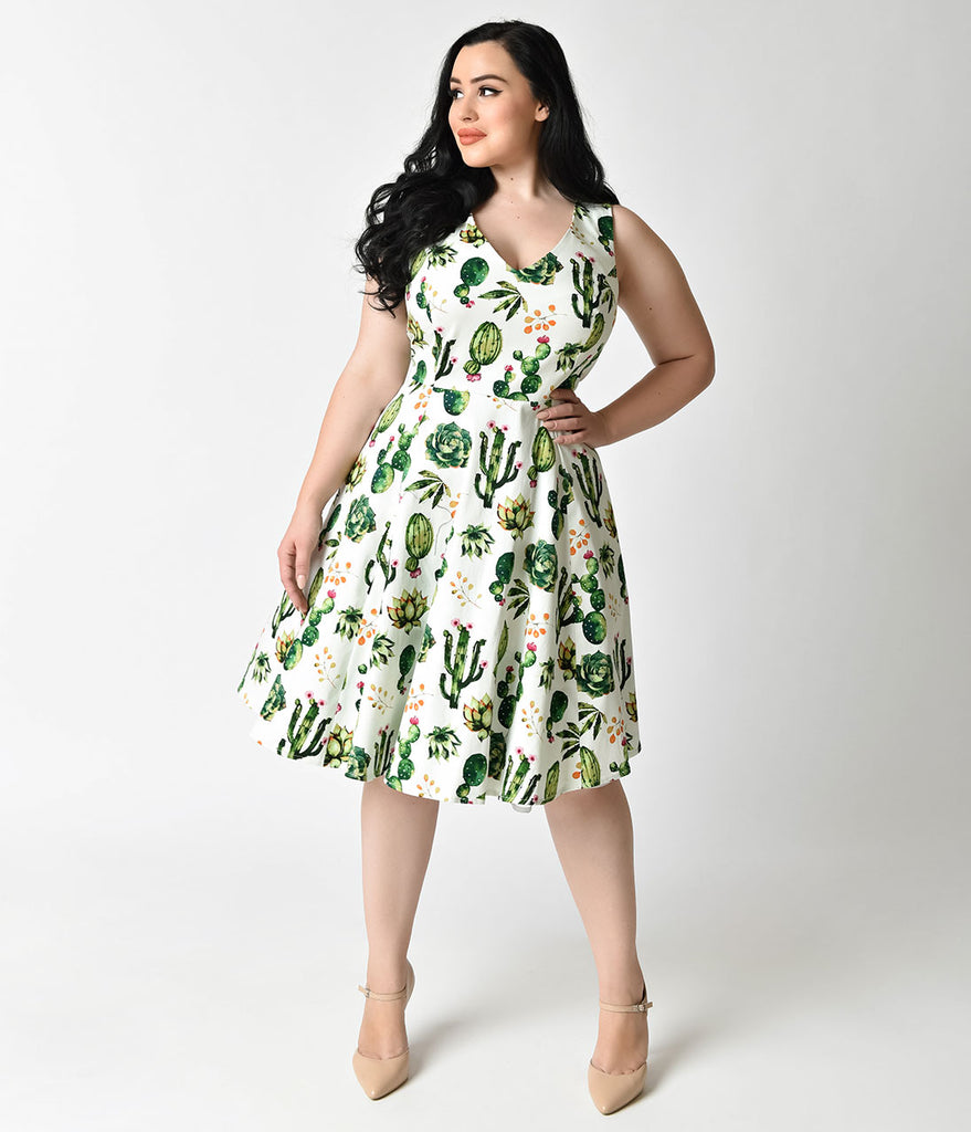 663d1c52e9a0 ... Plus Size 1950s Style White   Green Cactus Print Sleeveless Swing Dress  ...