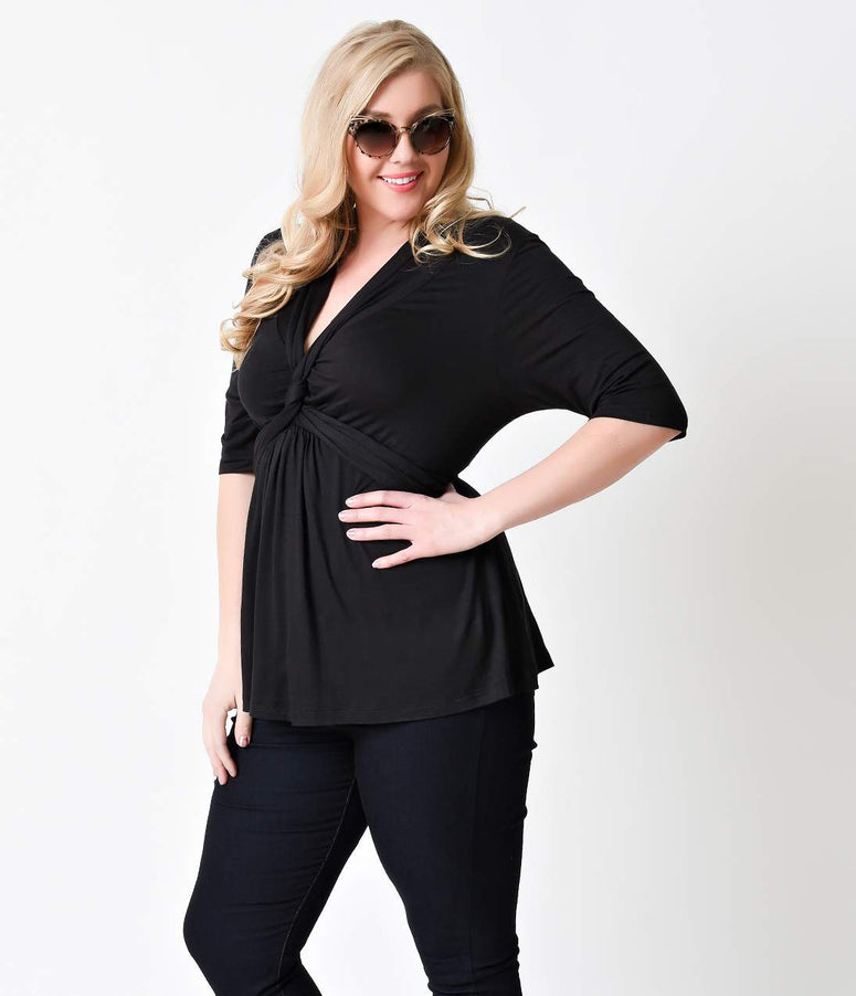 Plus Size Black Caycee Half Sleeve Twist Blouse