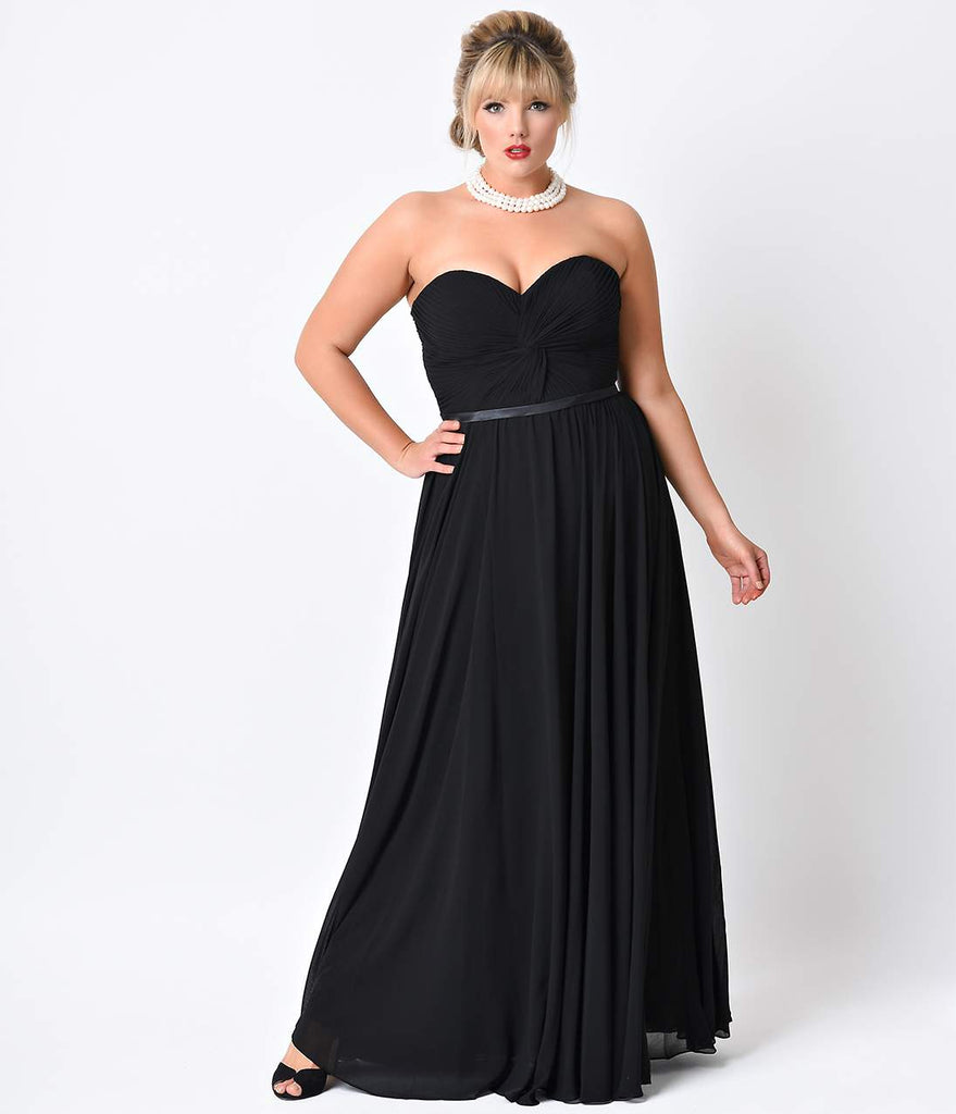 Plus Size Black Chiffon Strapless Sweetheart Corset Long Gown ...