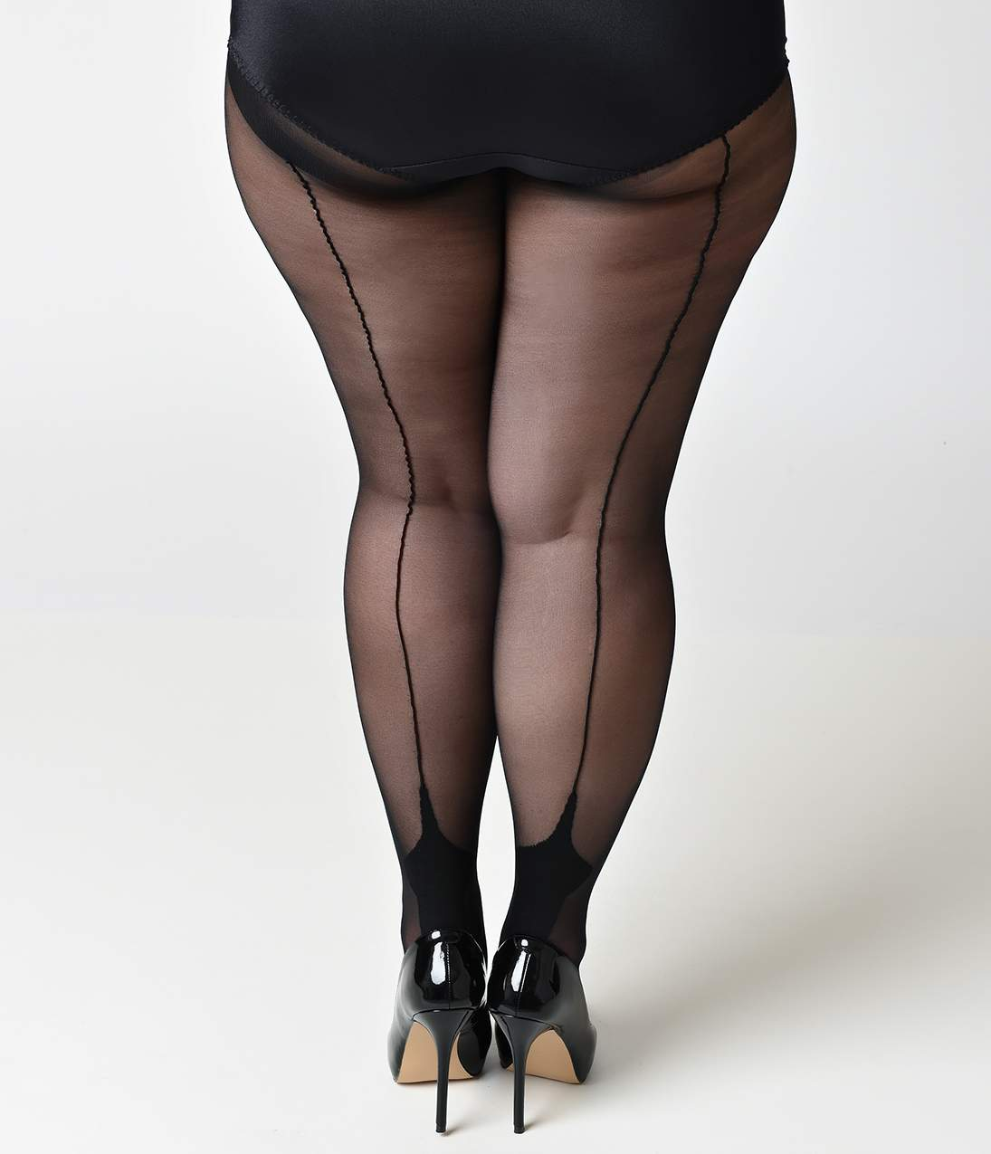1940s Stockings: Hosiery, Nylons, and Socks History Plus Size Black Cuban Heel Stockings $12.00 AT vintagedancer.com