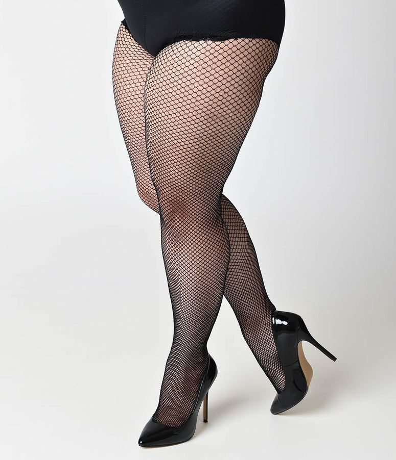 52a9fdcaf Plus Size Black Fishnet Tights. Quick View