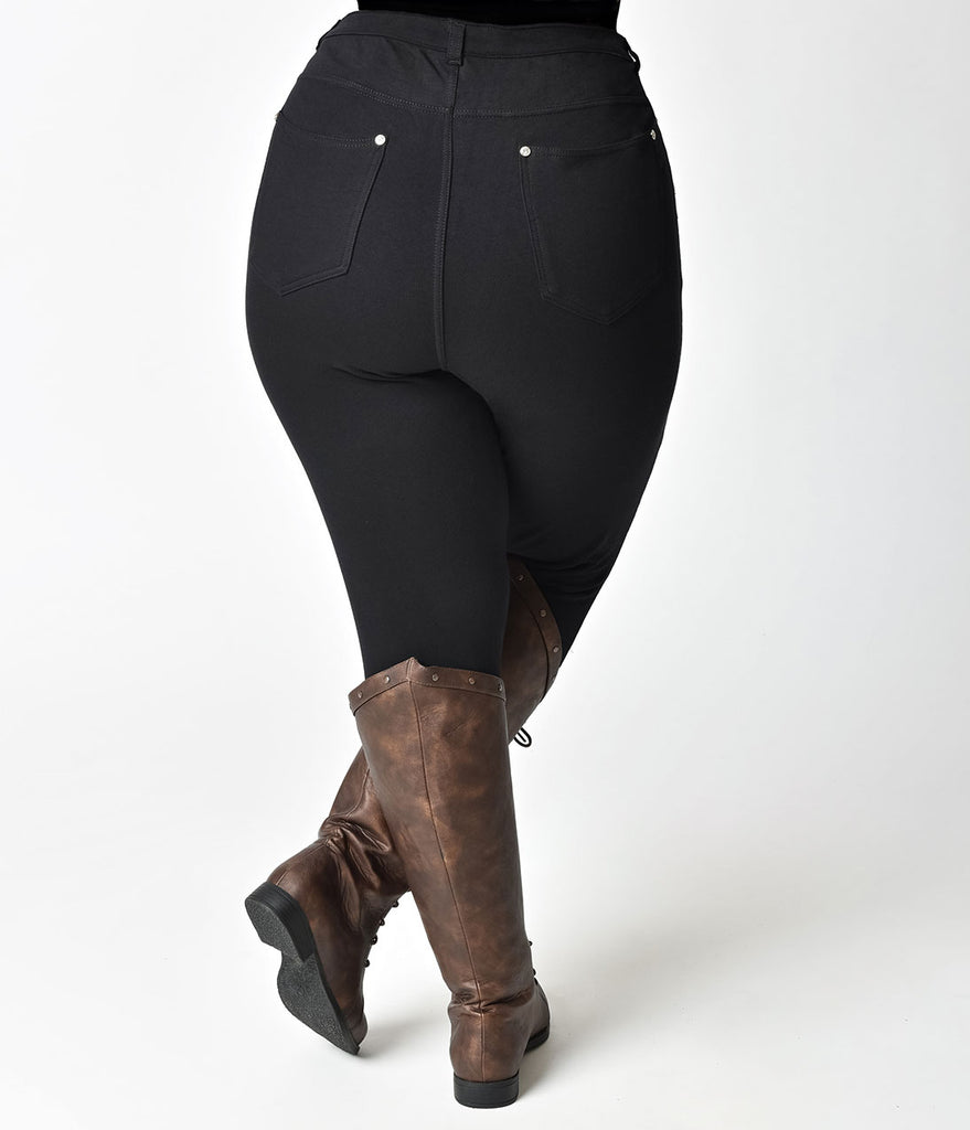 Plus Size Black High Waist Stretch Cotton Denim Jeans