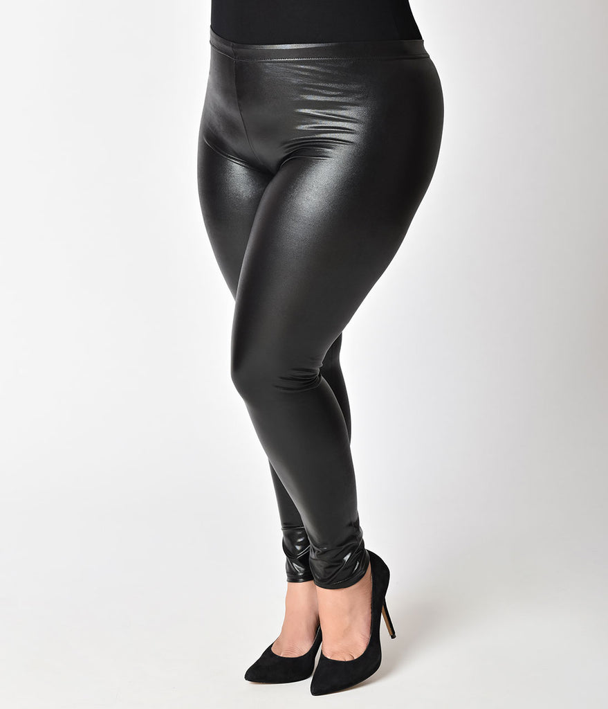 Plus Size Black High Waisted Sheeny Fitted Faux Leather Leggings