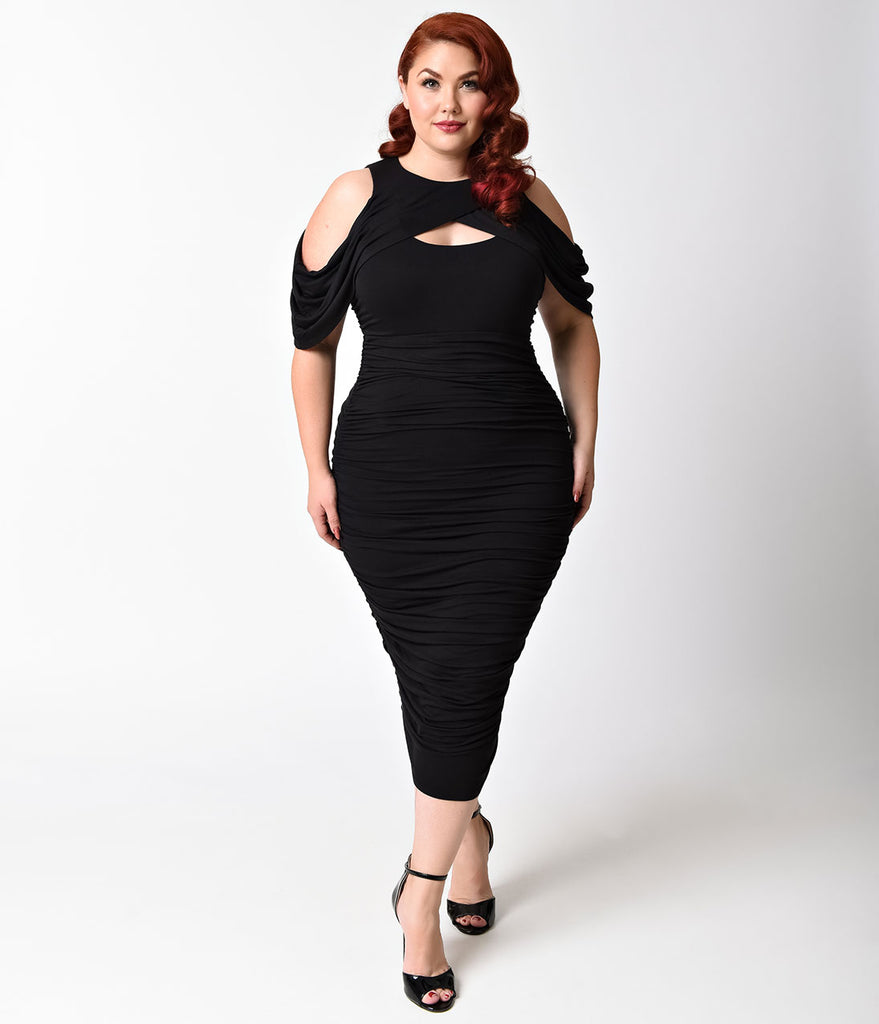 30aaa64a230 Plus Size Black Keyhole Cutout Ruched Wiggle Dress – Unique Vintage