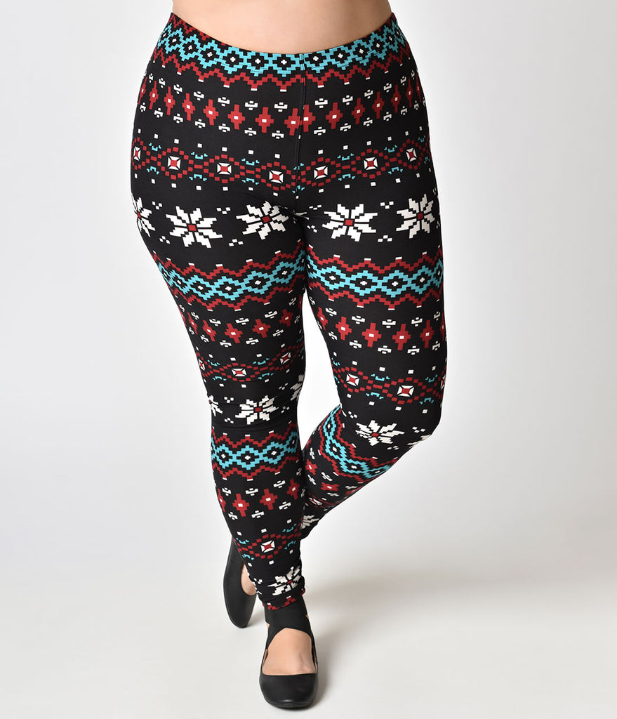 Plus Size Black & Multicolor Fair Isle Pattern Holiday Stretch Leggings