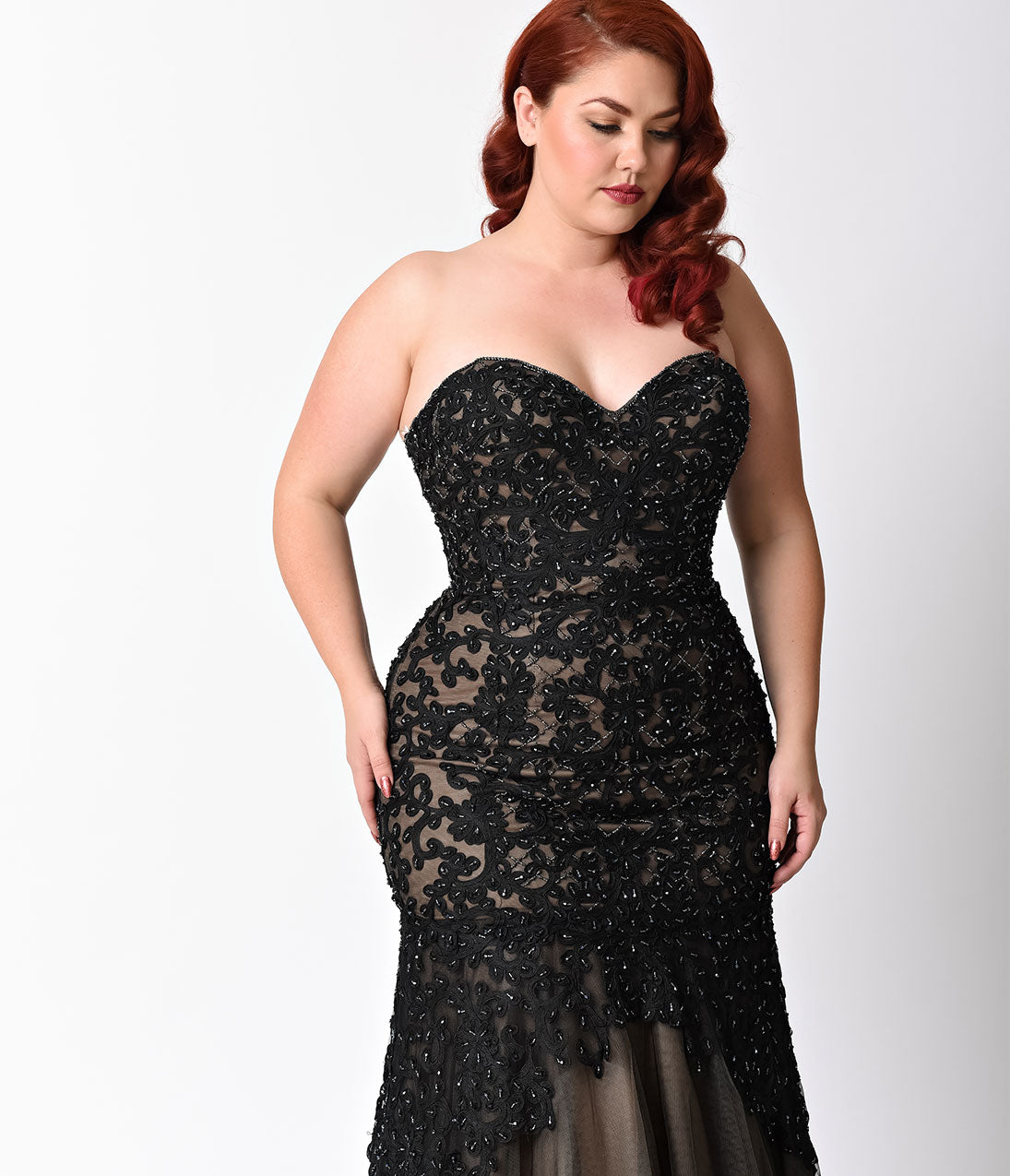 Plus Size Black & Nude Beaded Strapless Lace Gown – Unique Vintage