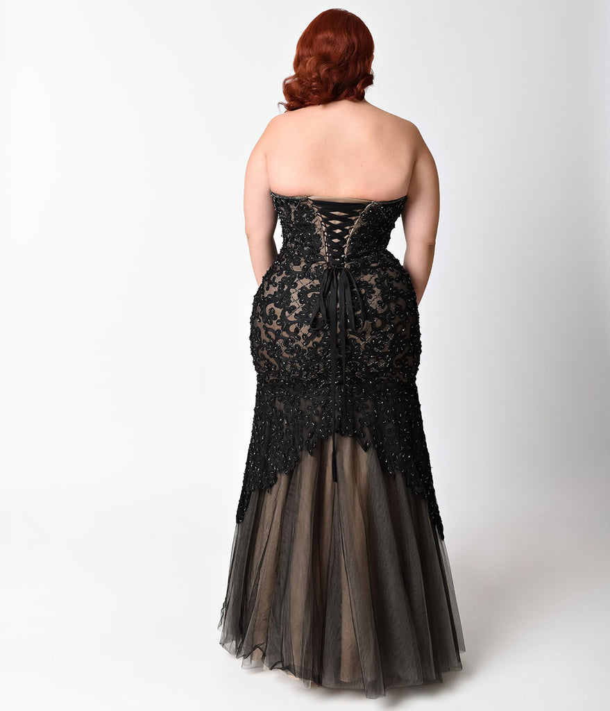 Plus Size Black & Nude Beaded Strapless Lace Gown