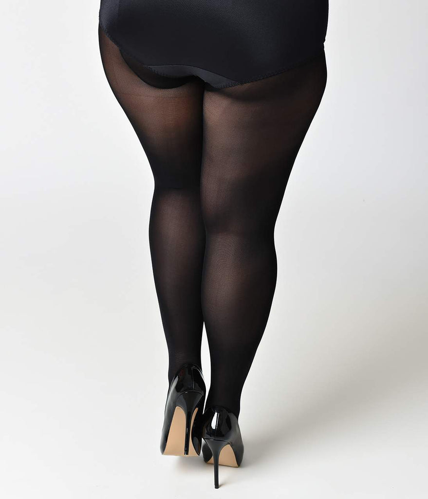 Plus Size Black Opaque Sheer to Waist Pantyhose