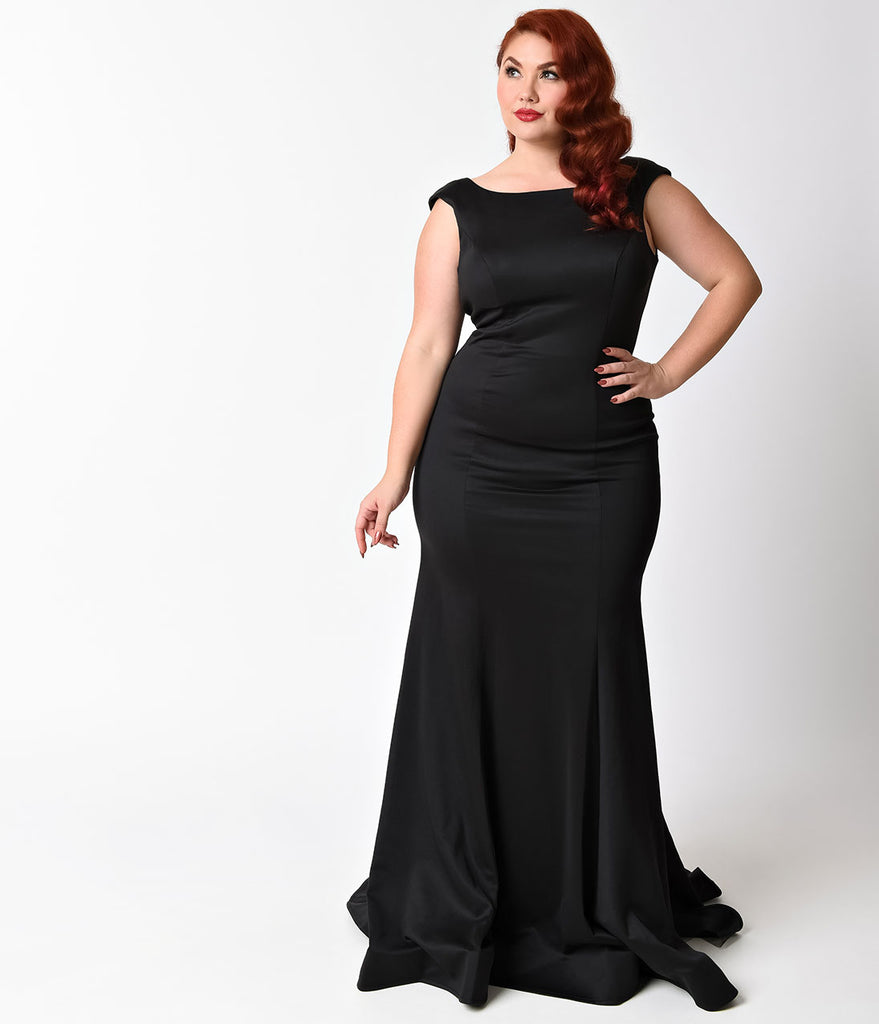 Plus Size Black Ruffle Back Long Dress For Prom 2018