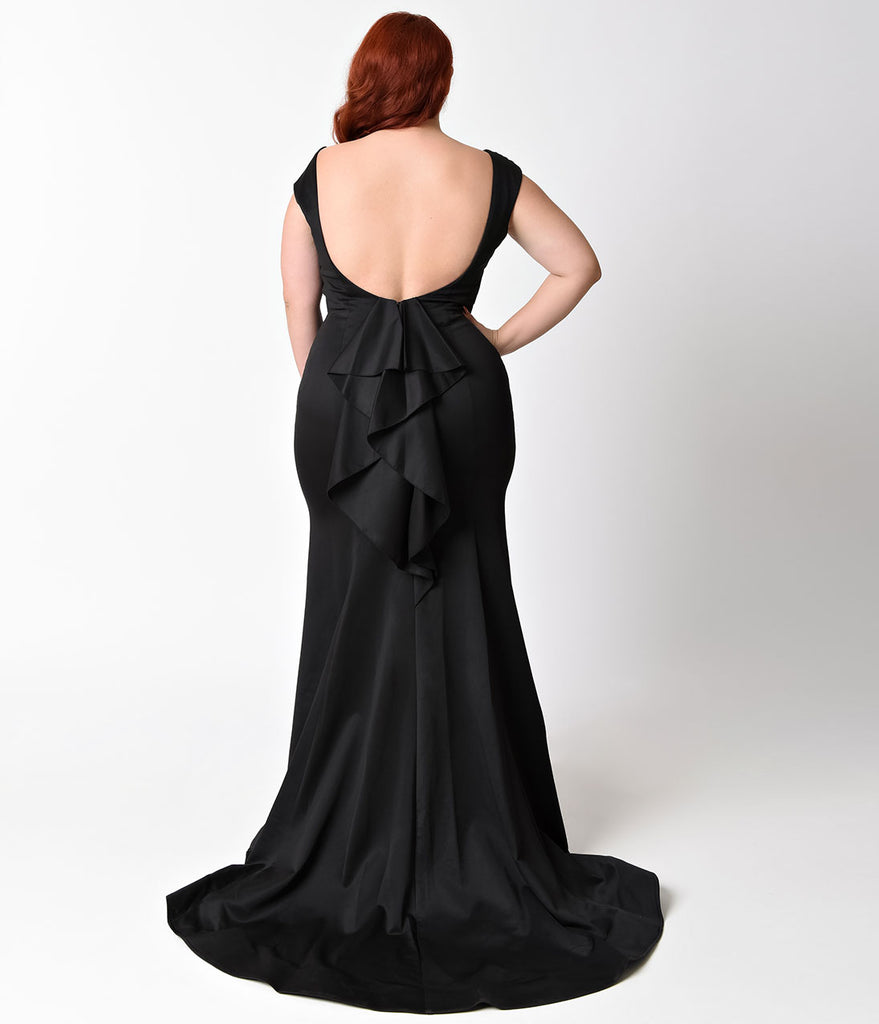 Plus Size Black Ruffle Back Long Dress
