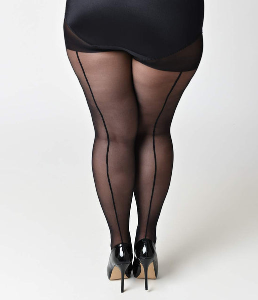 Plus Size Black Sheer Backseam Pantyhose  Unique Vintage-1923
