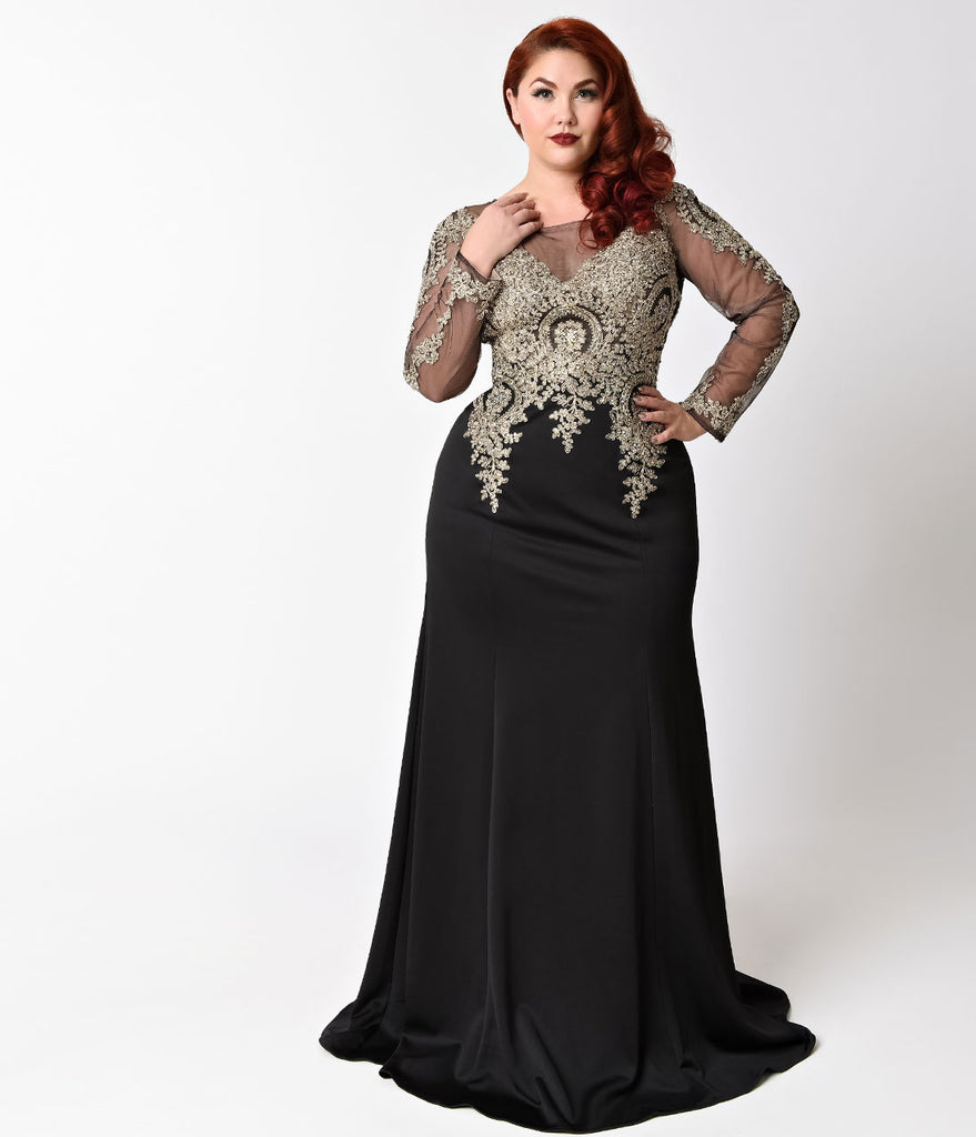 Plus Size Black Sheer Sleeve Embellished Long Dress – Unique Vintage