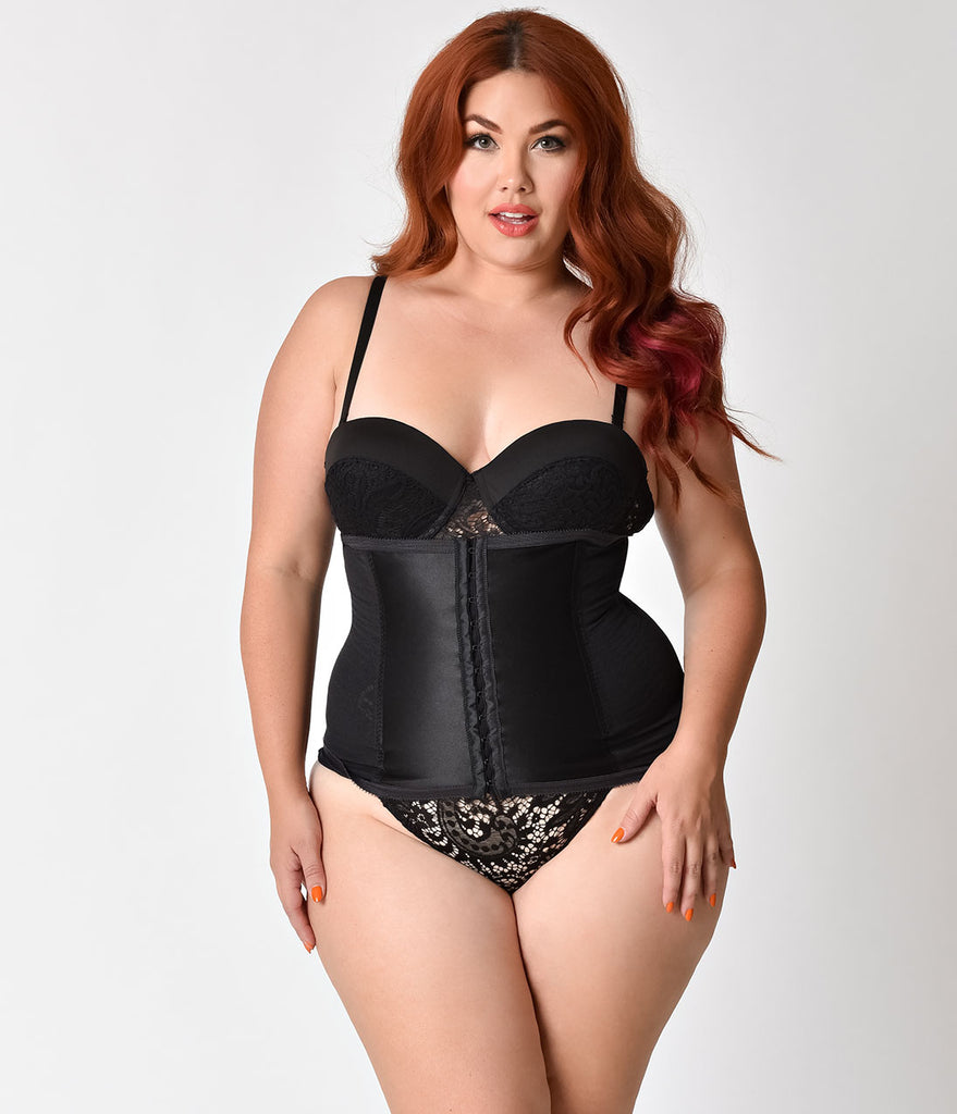 Unique Vintage Plus Size Black Stretch Power Mesh Waist Cincher