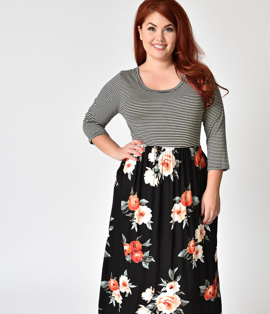Plus Size Black Stripe & Floral Sleeved Maxi Dress