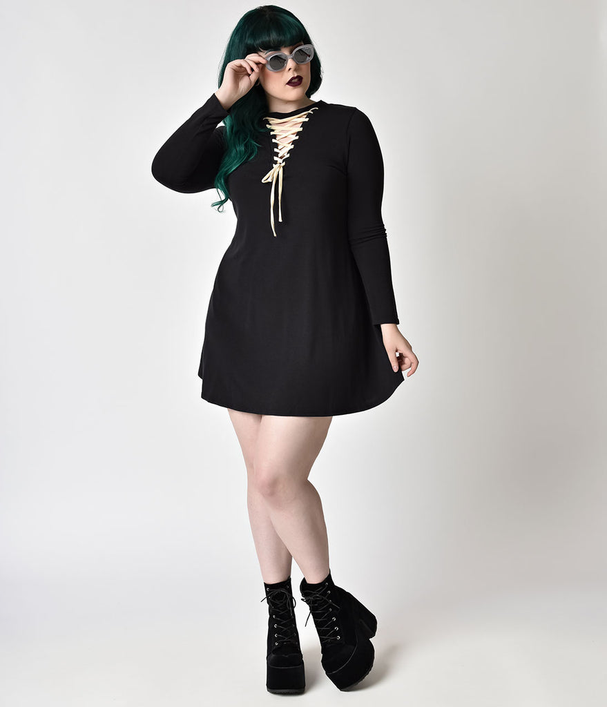 Plus Size Black & White Lace Up Long Sleeve French Terry Swing Dress