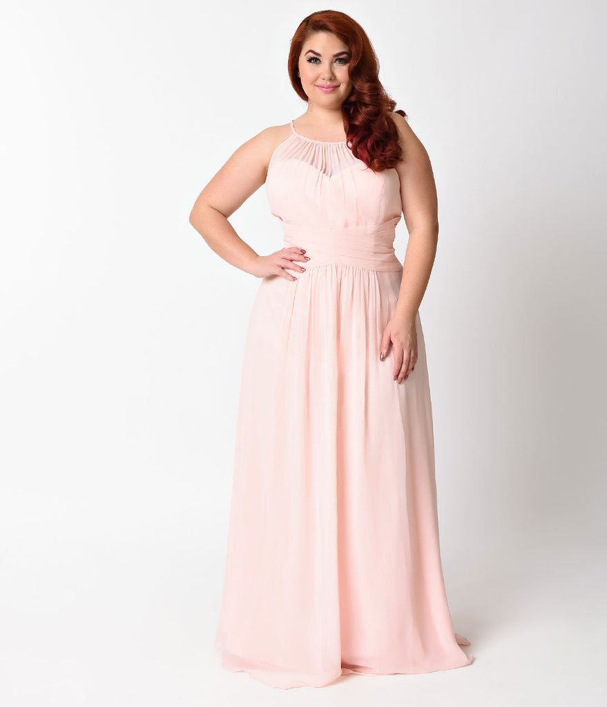 Unique vintage bridesmaid dresses plus size blush sexy sleeveless halter long dress ombrellifo Images