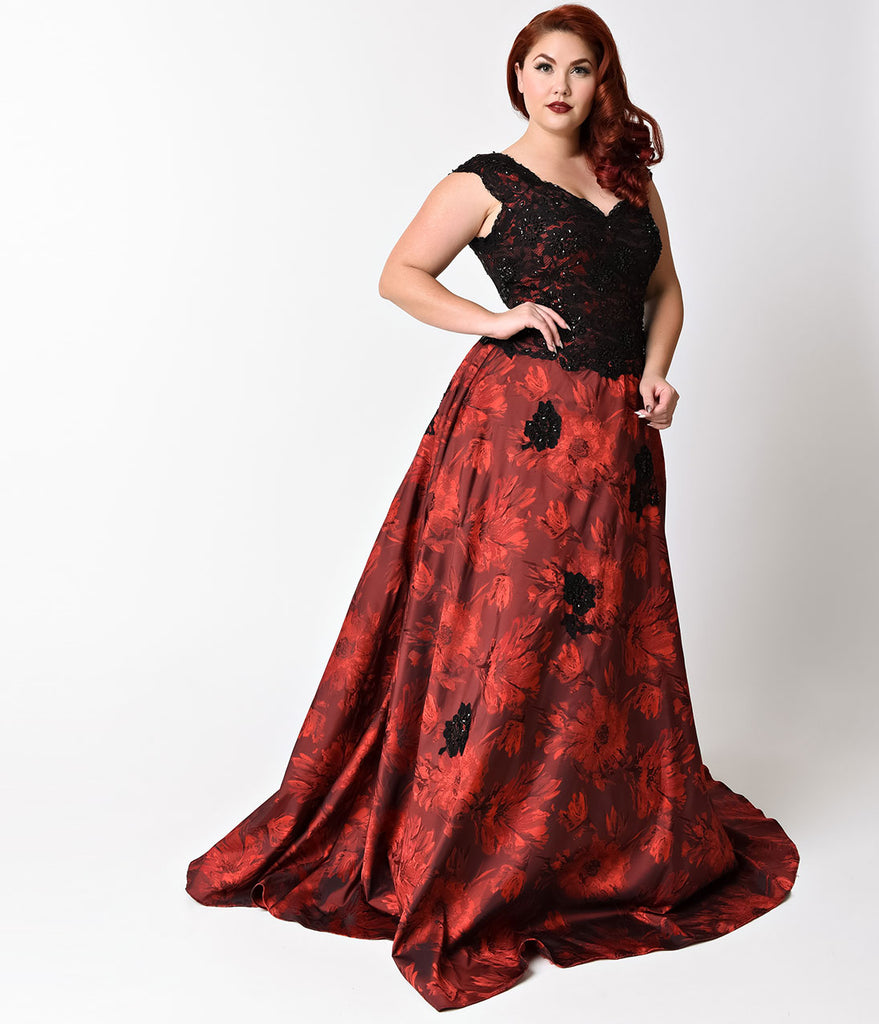 Plus Size Burgundy & Black Embellished Cap Sleeve Dress