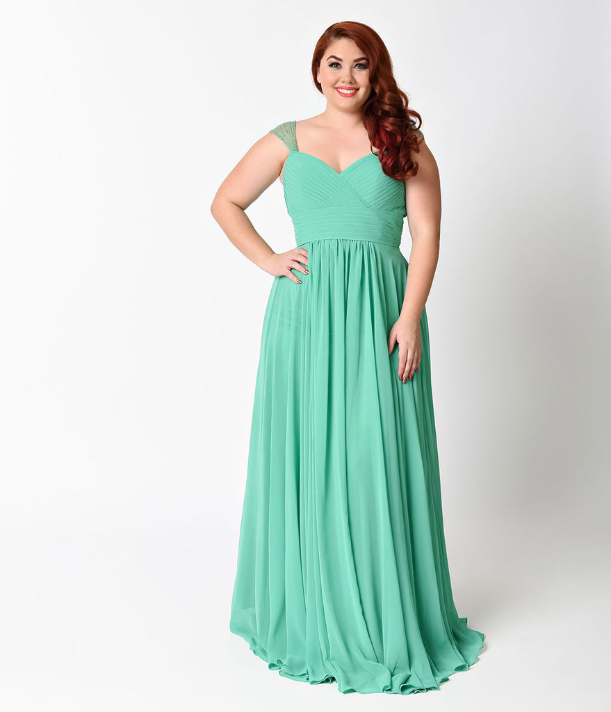 Plus Size Green Cap Sleeve Pleated Long Dress Unique Vintage