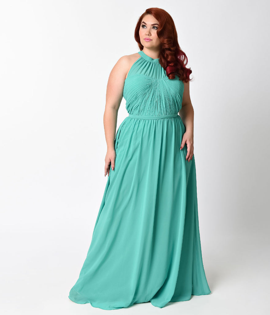 Plus Size Green Grecian Halter Chiffon Gown for Prom 2018
