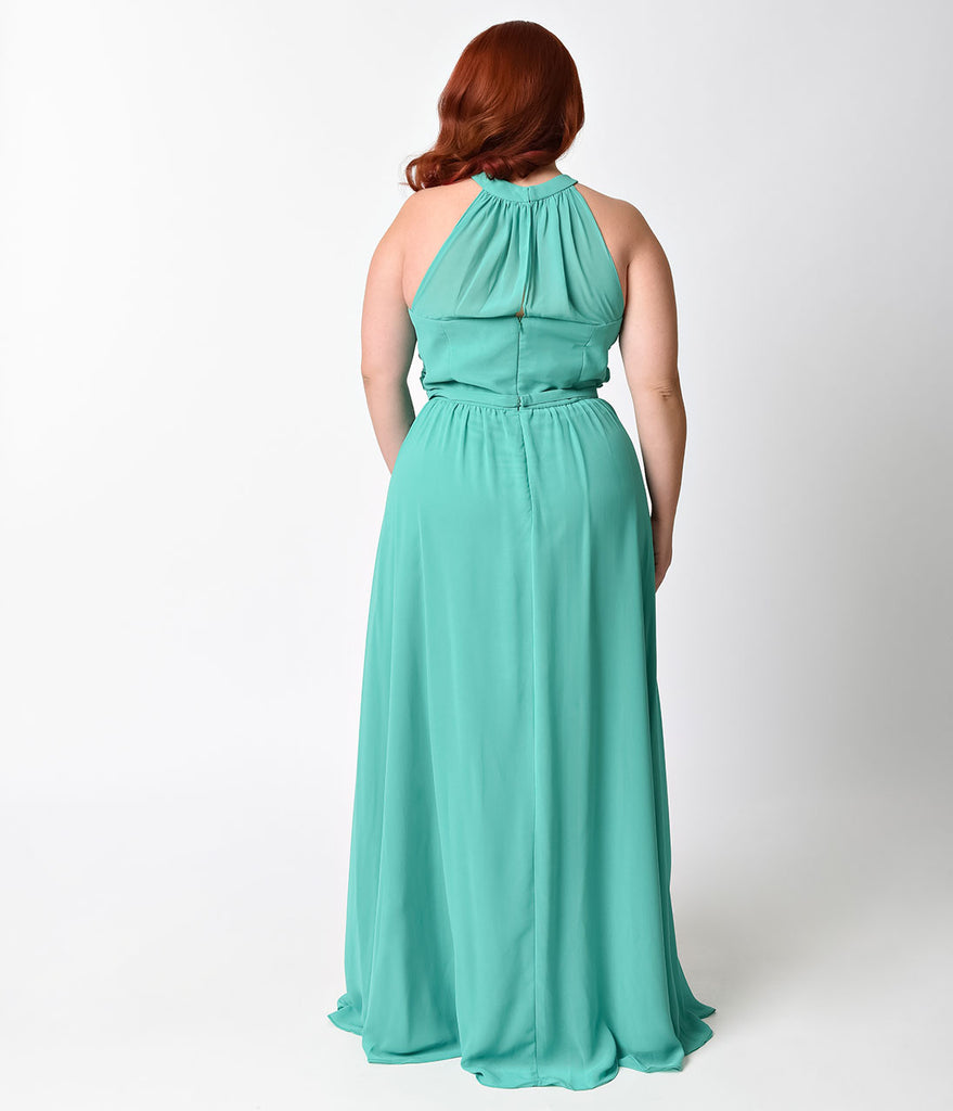 Plus Size Green Grecian Halter Chiffon Gown