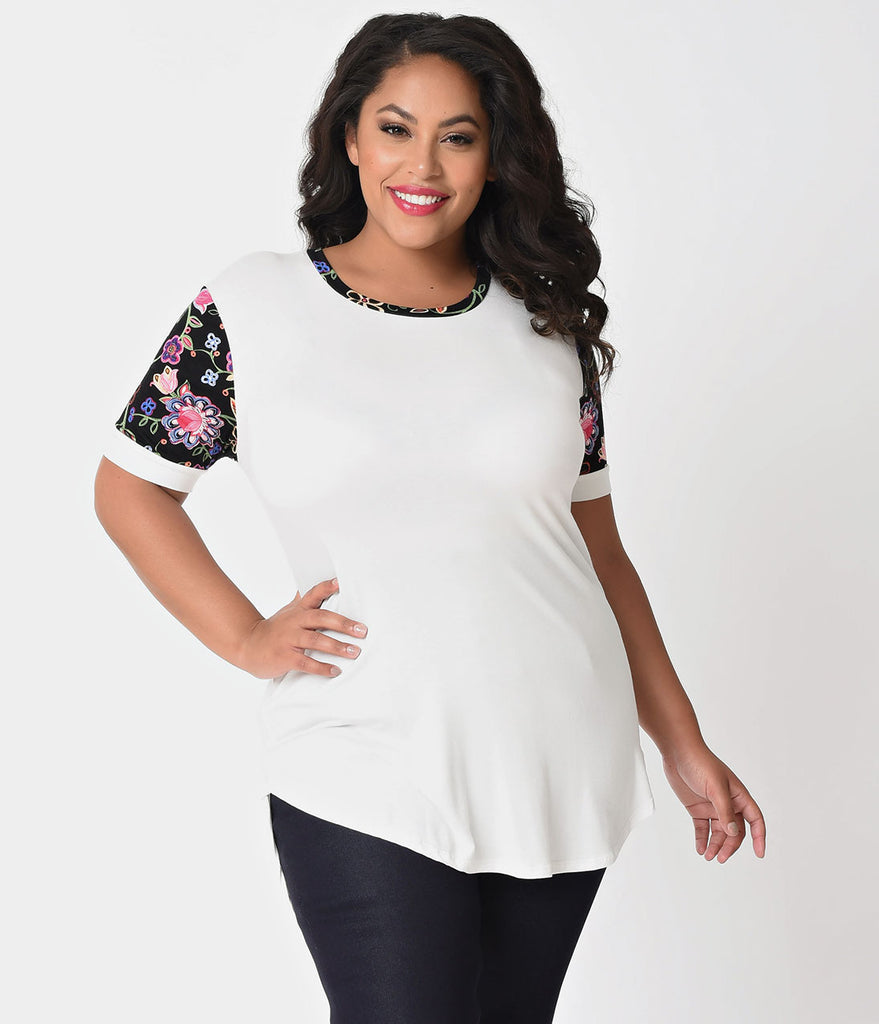 Plus Size Ivory Knit & Floral Print Short Sleeve Blouse